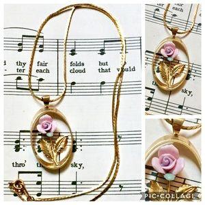 Vintage AVON porcelain rose gold necklace